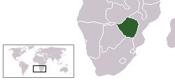 Geografisk placering af Republikken Rhodesia