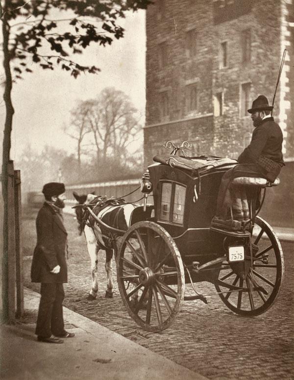 Безопасный кэб Хэнсома на лондонской улице, 1877 год.