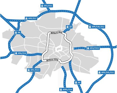 Autobahnen und Mittlerer Ring
