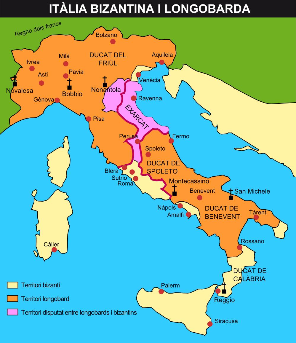 Mapa  La Italia Bizantina y Lombarda