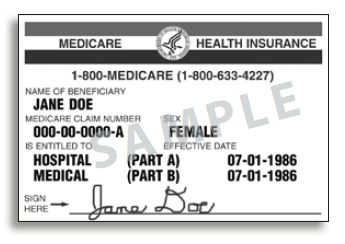 copy of a sample Medicare card