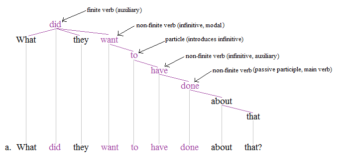 "the non finite forms of the verb ""auxiliaries are required with non-finite verbs this is their role to mark non-finite  verb forms for tense, aspect and voice, which non-finite verbs cannot express."
