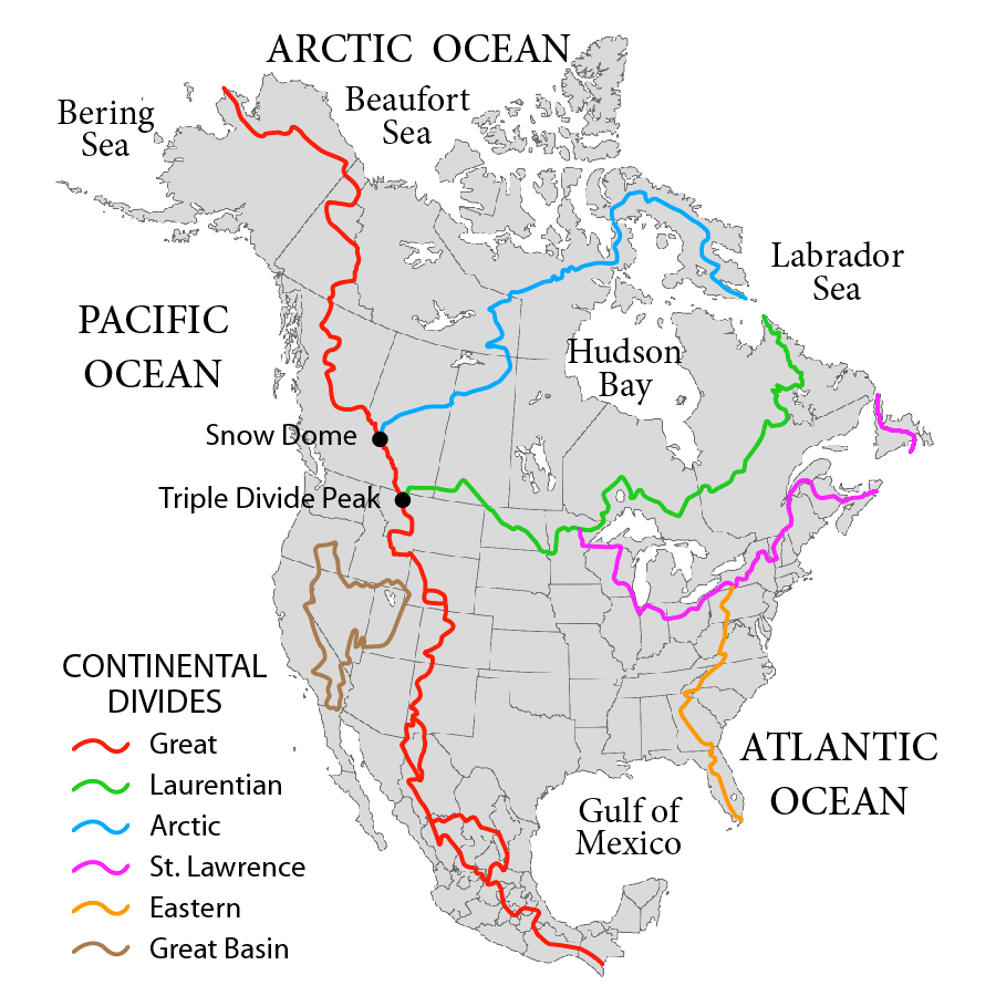 Continental Divide Of The Americas Wikipedia - Major rivers in usa map