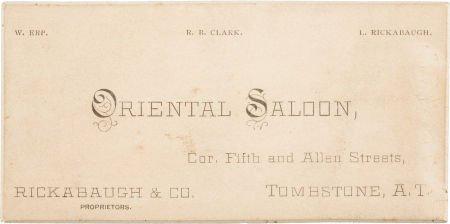 Oriental Saloon business card