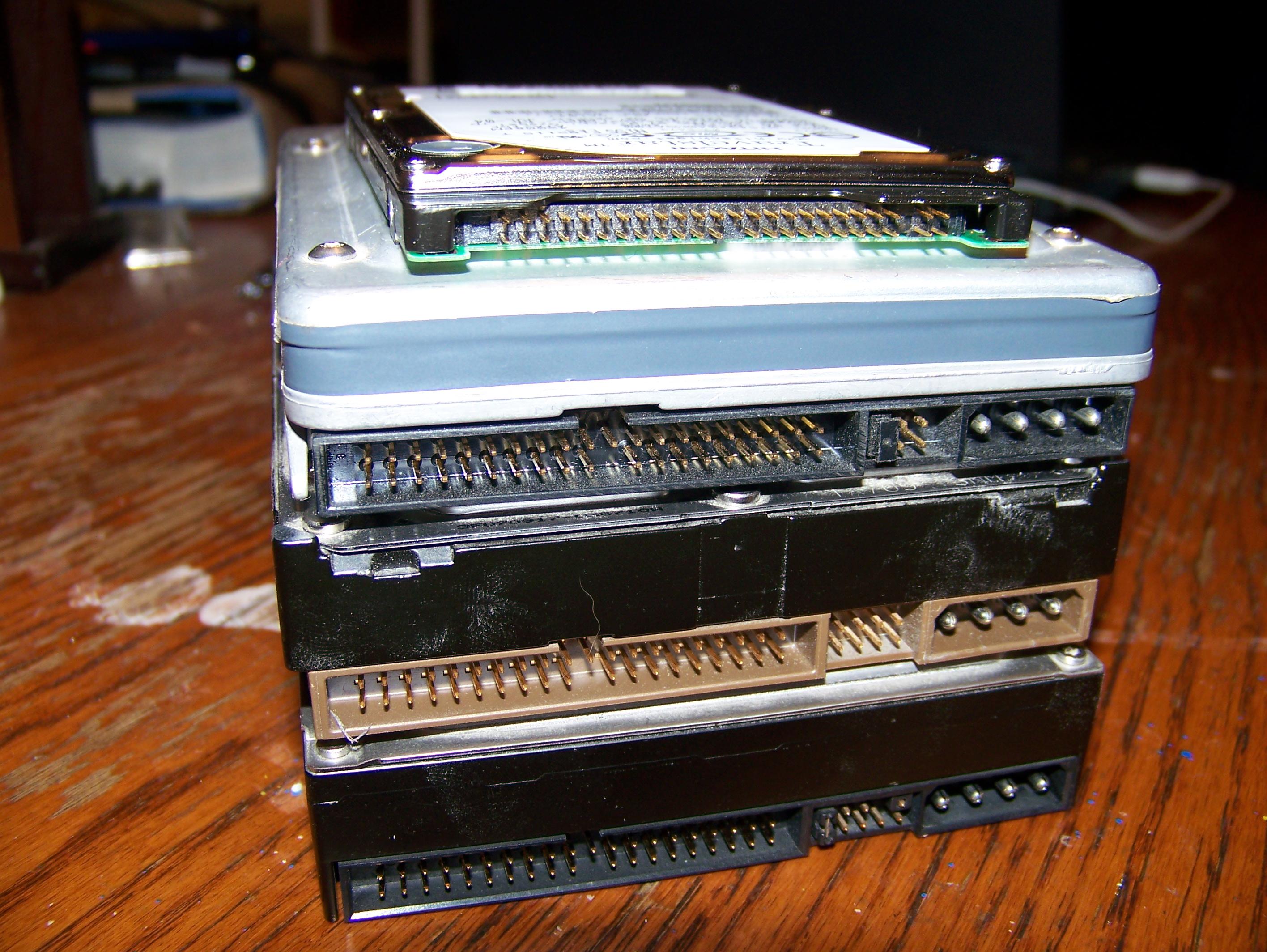 Several Parallel ATA hard disk drives