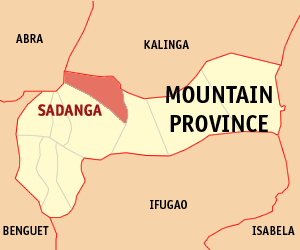 Map of Mountain Province showing the location of Sadanga
