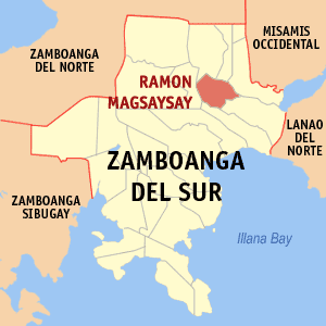 Map of Zamboanga del Sur showing the location of Ramon Magsaysay