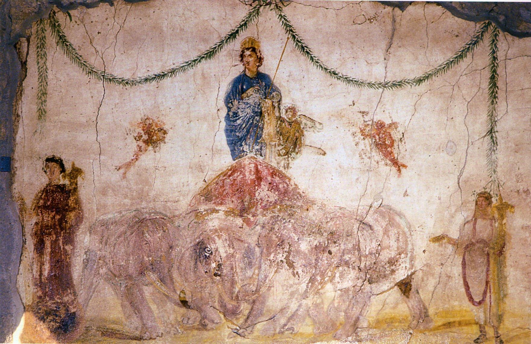 Pittura da Pompei. Afrodite - Venere in trionfo su una quadriga trainata da elefanti. Al posto dei passeri
