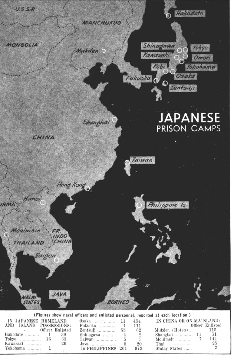 Map Japan World War 2. File Prisoners of war camps in Japan World War II  map 1944