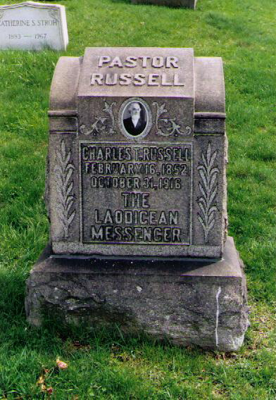 Russell's tombstone in Pittsburgh, Pennsylvania Russell Laodicean Messenger.JPG