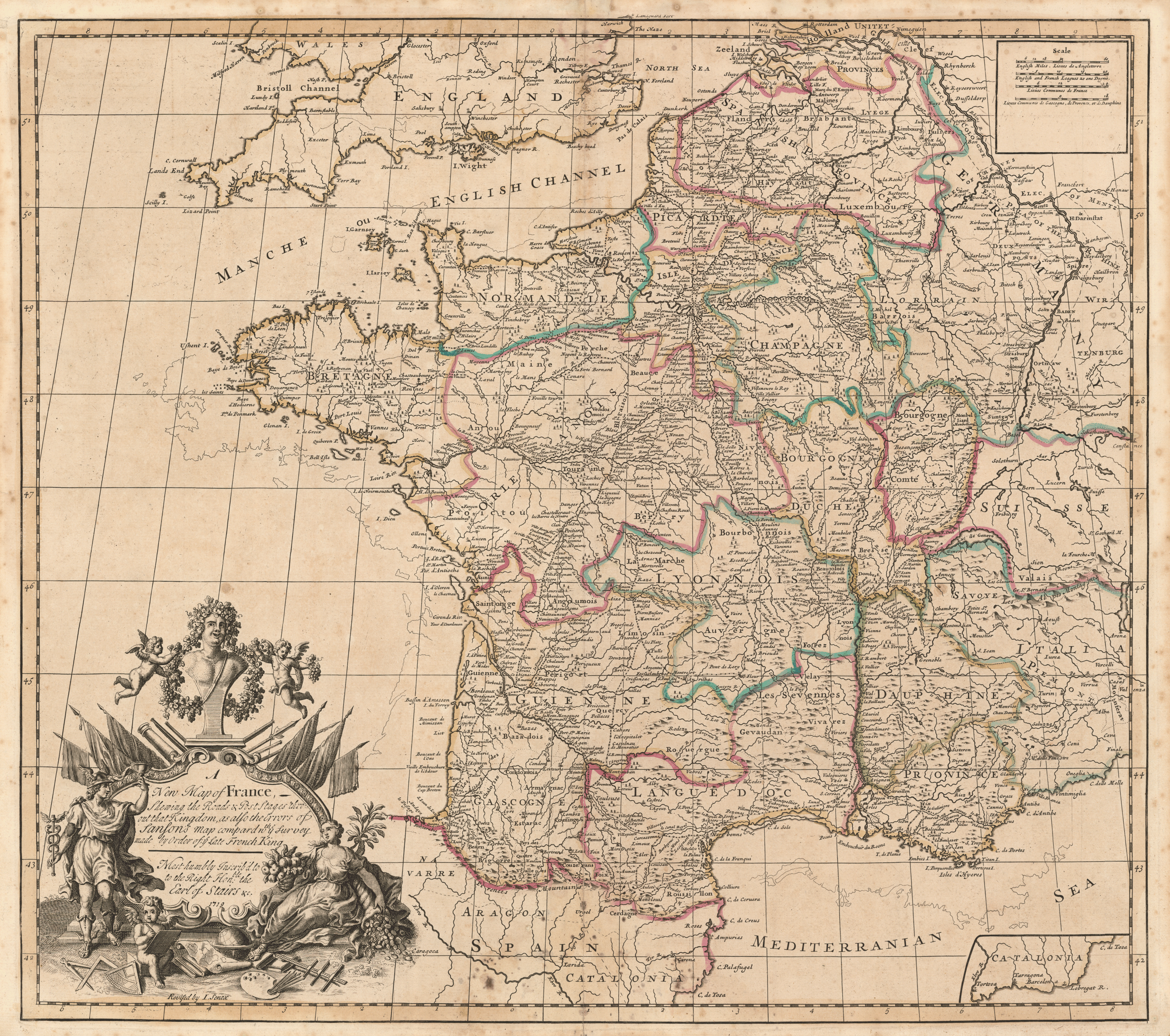 Road Map Of France.File Senex France Postal And Road Map 1719 Jpeg Wikimedia Commons