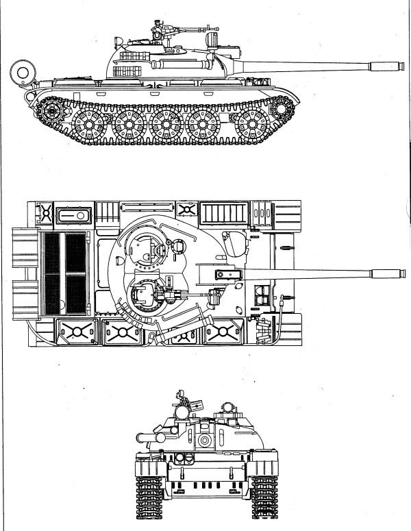 Т-55 в трех проекциях