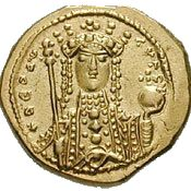Coin depicting Empress Theodora, holding a scepter in her right hand and the globus cruciger in her left