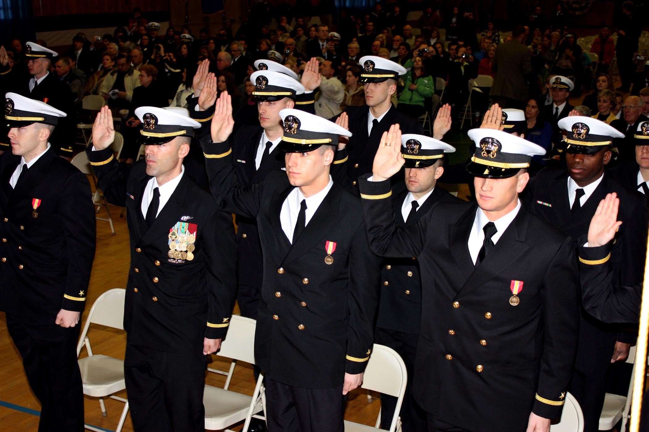 File us navy 100212 n 0000k 002 officer candidates take the oath of office during a - Ocs officer candidate school ...