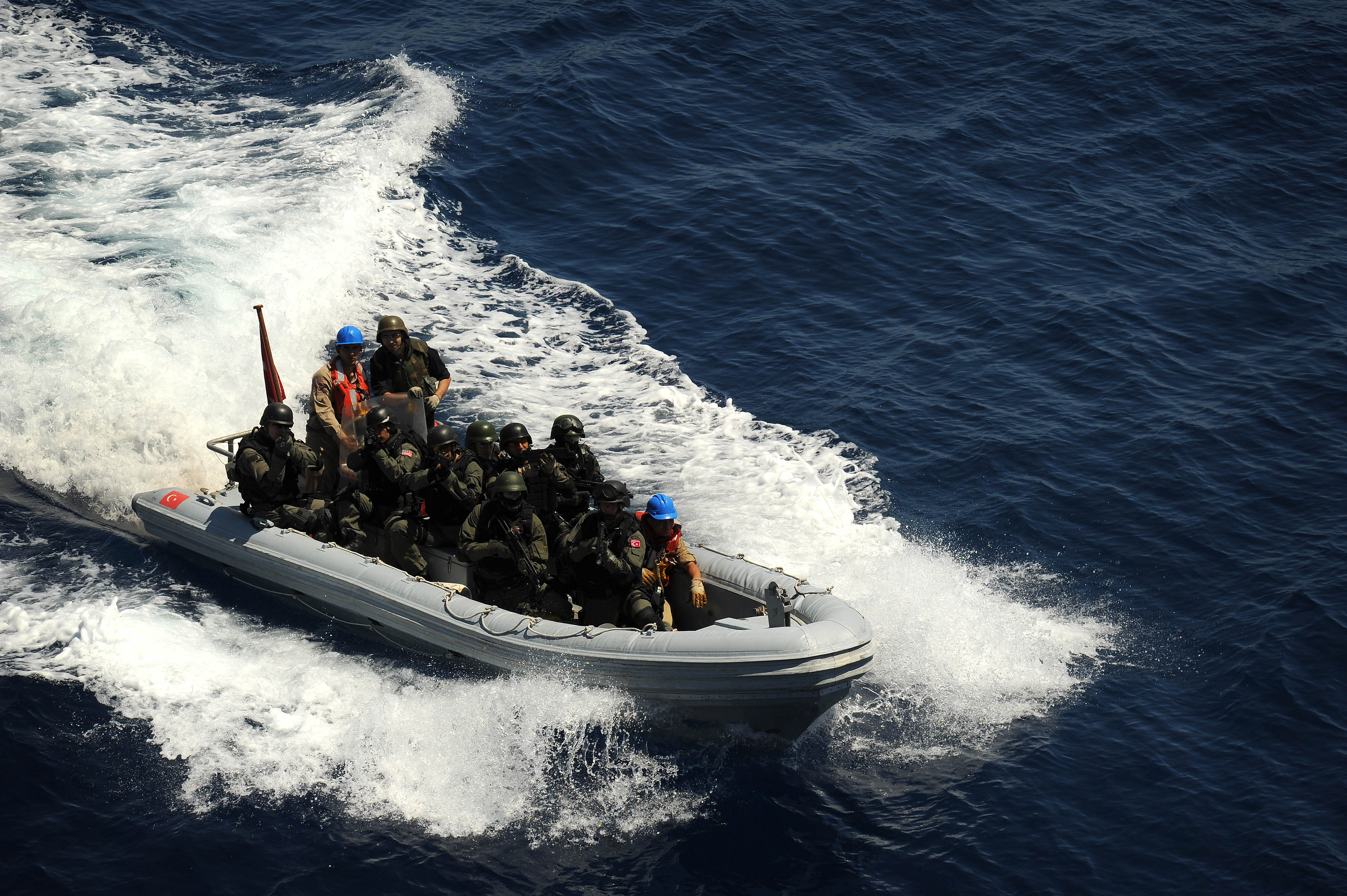 US Navy 100526-N-3136P-162 A rigid-hull inflatable boat operated by the Turkish Navy transfers members of a visit, board, search and seizure team to the Military Sealift Command USNS LCPL Roy H. Wheat (T-AK 3016).jpg