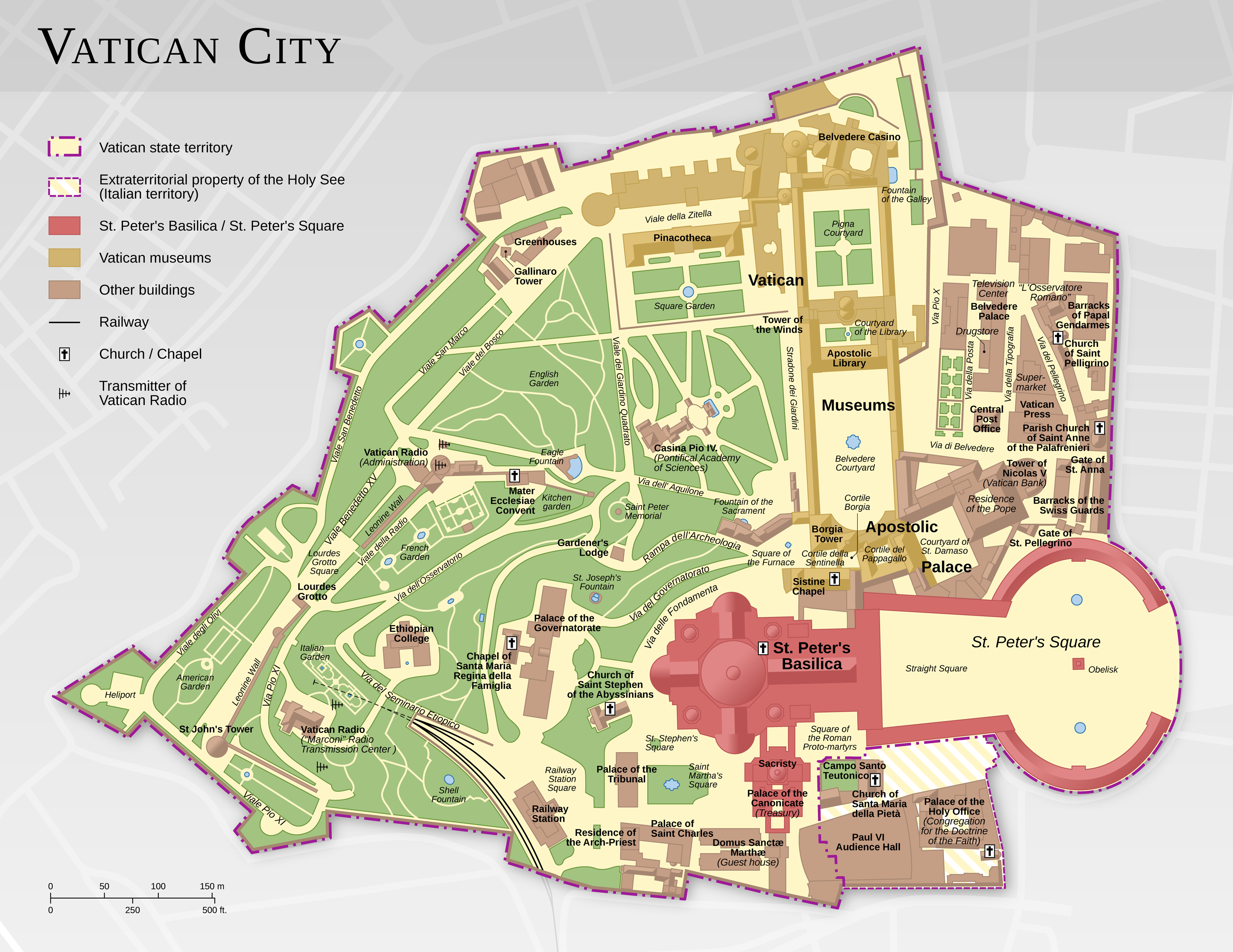 Map Of Vatican City File:Vatican City map EN.png   Wikipedia