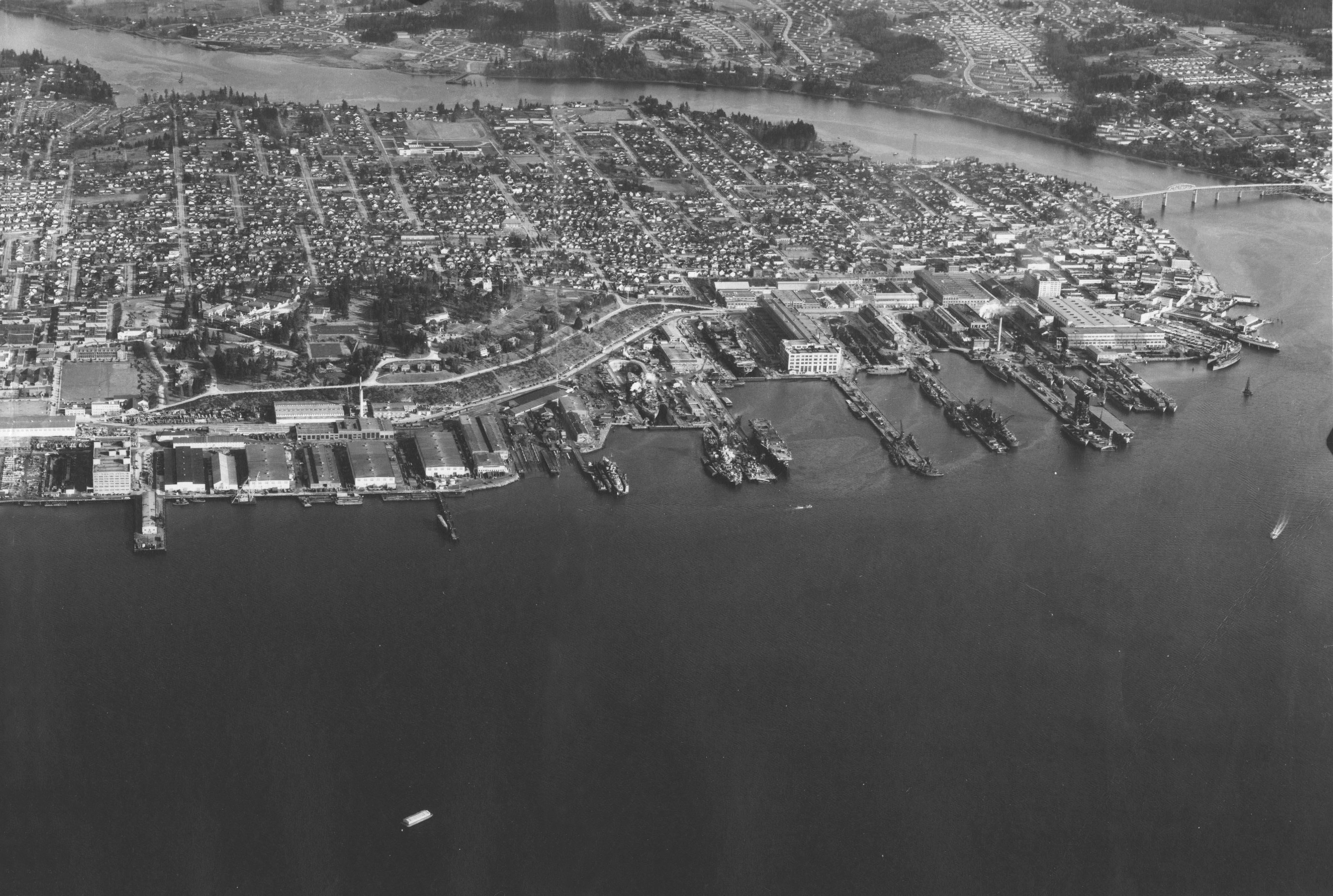 file view of puget sound navy yard and bremerton  circa in