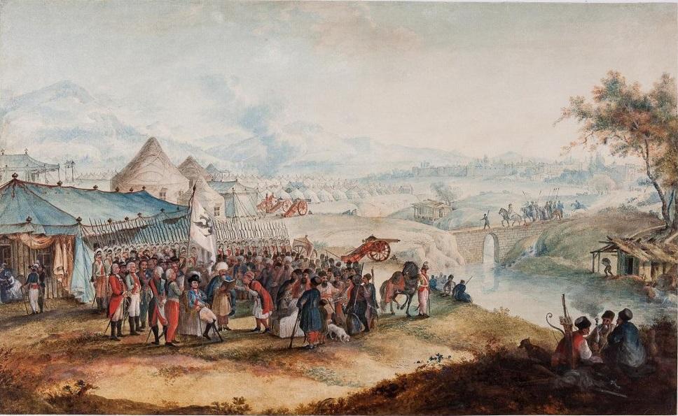 Приведение к присяге на подданство Новошемаханского Гасим хана среди российского корпуса под командою графа В. А. Зубова при реке Аксучай в 1796 году