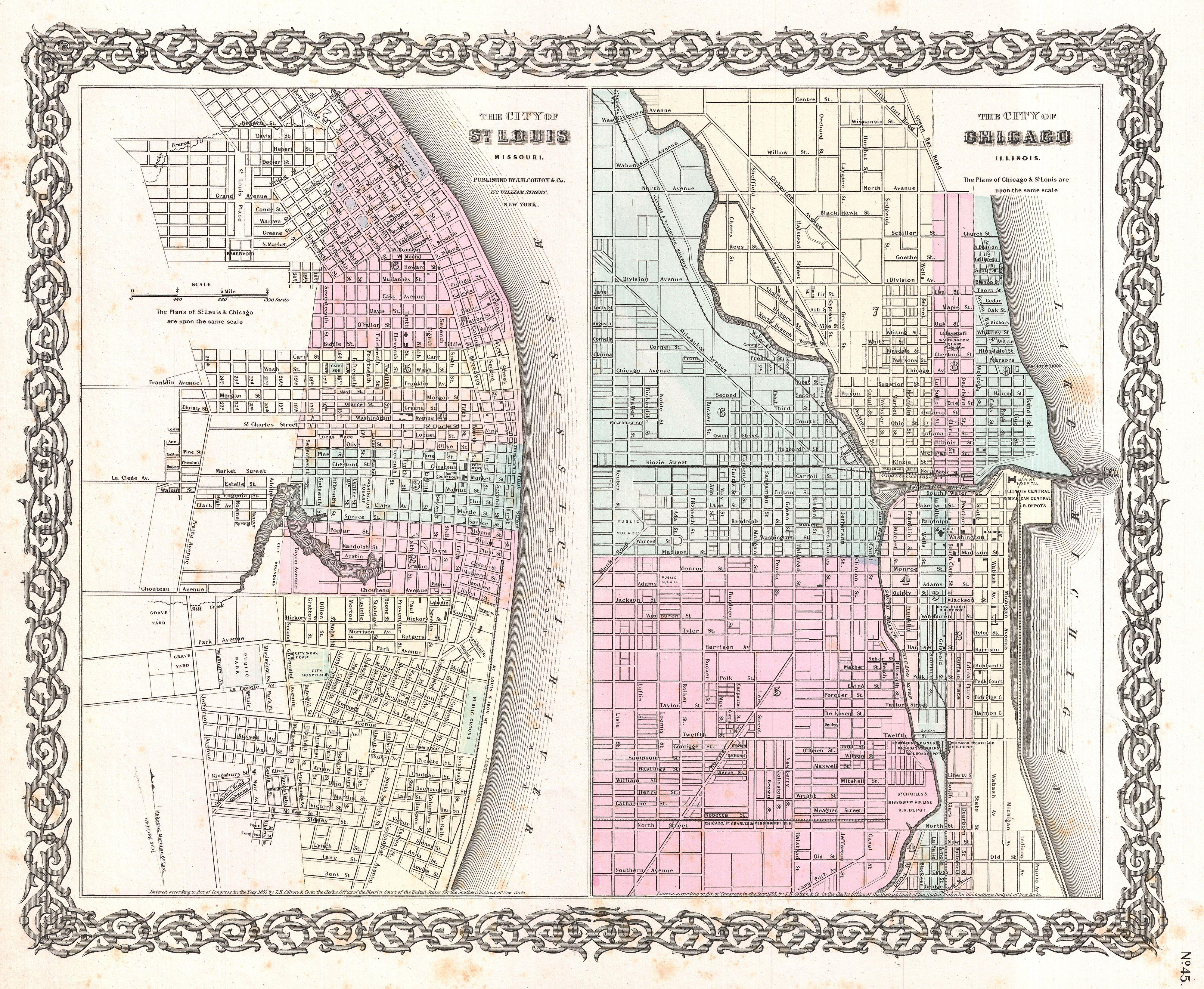 File:1855_Colton_Plan_or_Map_of_Chicago,_Illinois_and_St._Louis,_Missouri_ _Geographicus_ _StLouisChicago Colton 1855 on S Spiral Border Green