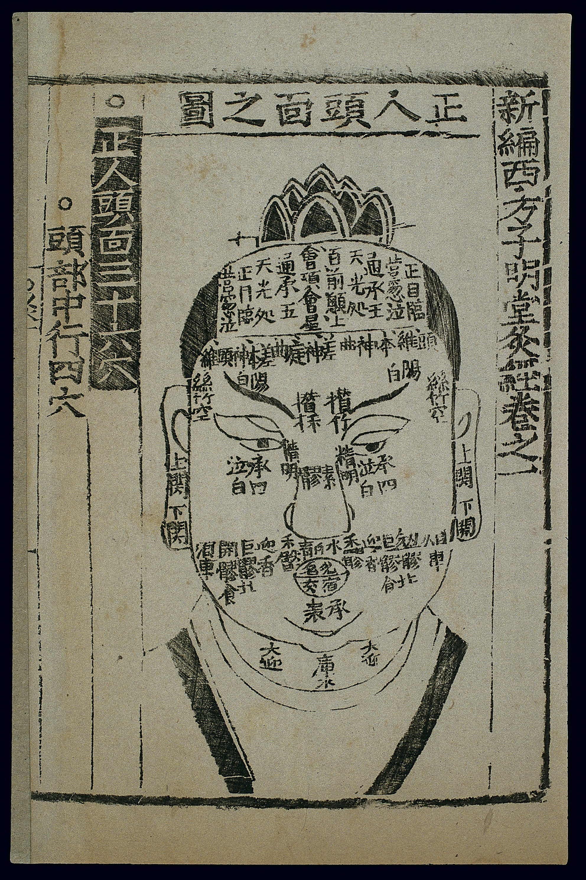 Head Size Conversion Chart: Acu-moxa chart front of the head Chinese woodcut Wellcome ,Chart