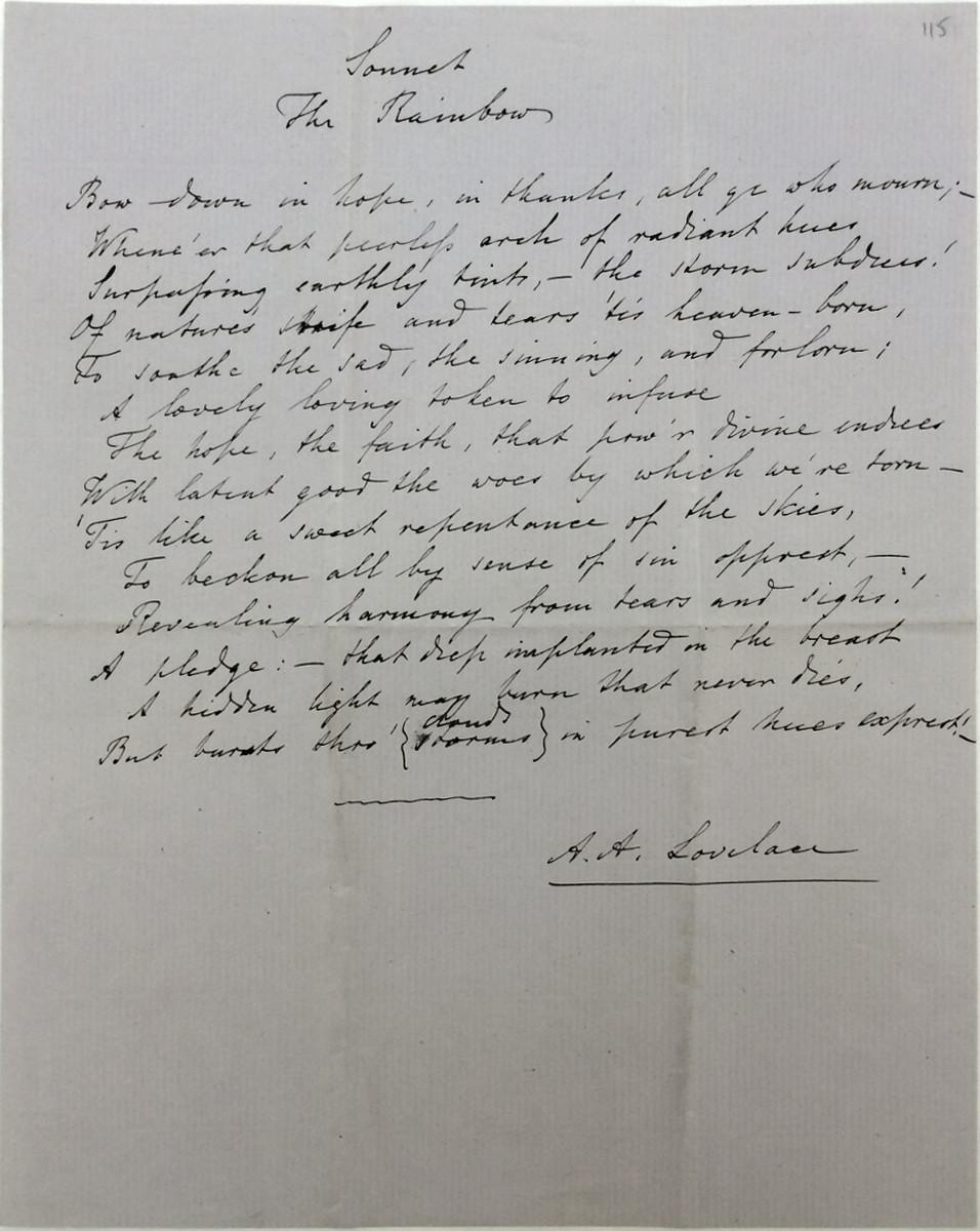 File:Ada Lovelace sonnet The Rainbow Somerville College JPG