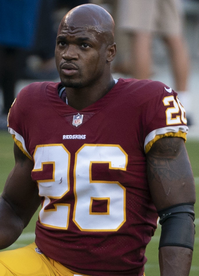 The 33-year old son of father Nelson Peterson and mother Bonita Jackson Adrian Peterson in 2018 photo. Adrian Peterson earned a 14 million dollar salary - leaving the net worth at 20 million in 2018