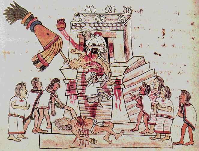 Opferung zu Ehren des Huitzilopochtli, um 1570
