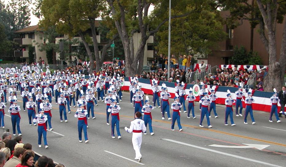 The Londonderry High School Marching Band as they were performing in the 2004 Rose Bowl Parade.