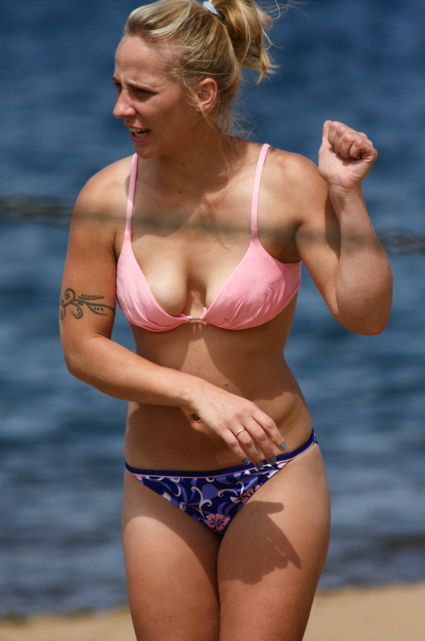 File:Bikini woman on beach.jpg