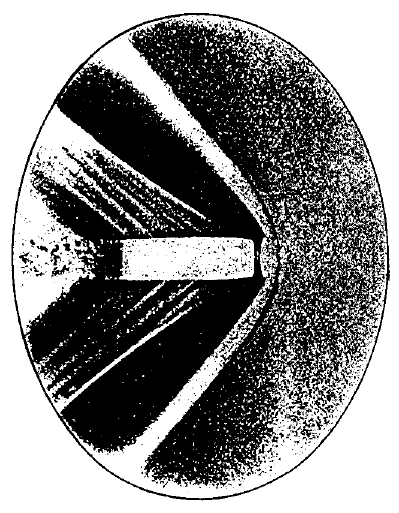 One of the first photograps of the bullet in flight made by Peter Salcher with Ernest Mach in 1886