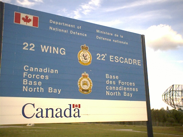 A picture of the sign for the 22 Wind CFB North Bay base