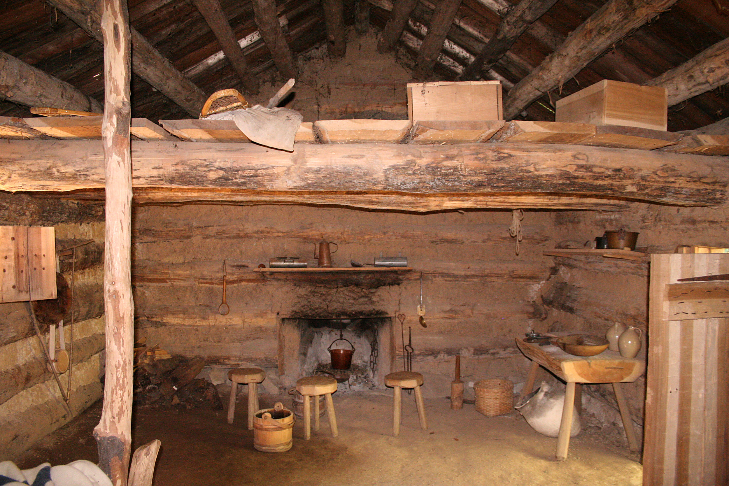 File:Conner Prairie Log Cabin Interior Part 88
