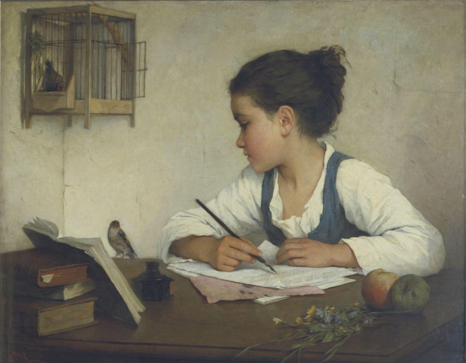 Enfant écrivant-Henriette Browne