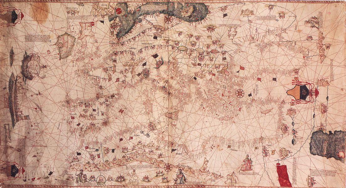 Grazioso Benincasa, portolano, 1482. Pubblico dominio via Wikimedia Commons