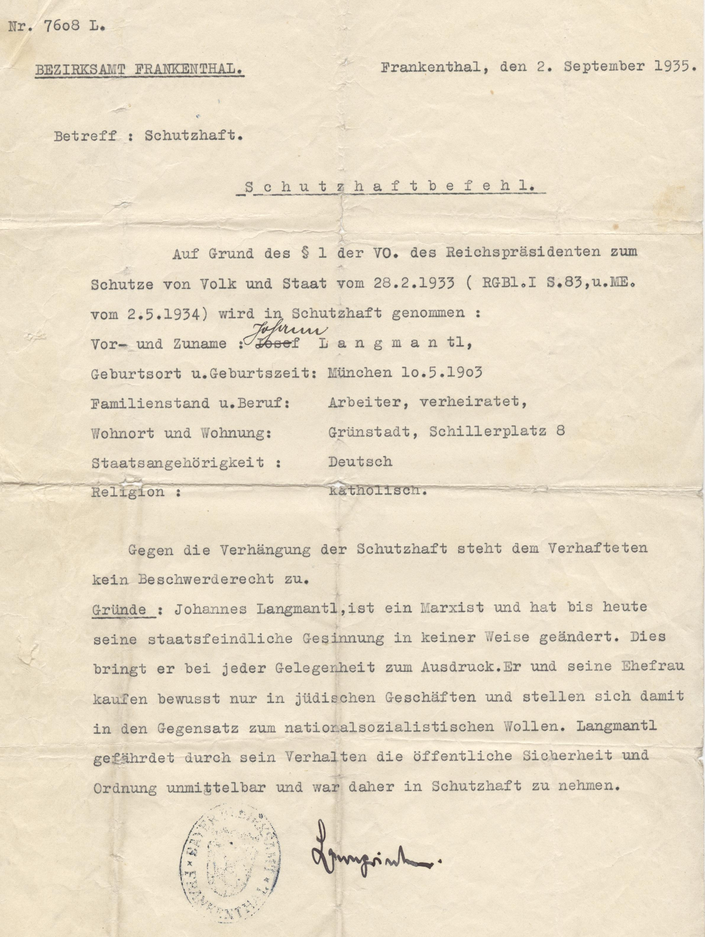 Schutzhaftbefehl des Bezirksamtes Frankenthal (Pfalz) gegen Hans Langmantl, 2. September 1935