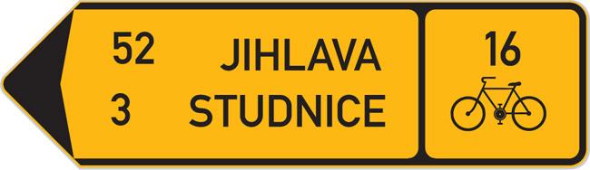 Exemple de panneaux de signalisation pour les pistes cyclables en République Tchèque.