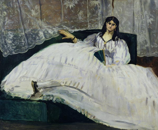 Jeanne Duval painted in 1862 by Manet. At this point she was going blind and suffering from years of polio. She reclines stiffly in a big, puffy white dress with blue stripes, holding a fan in one hand.