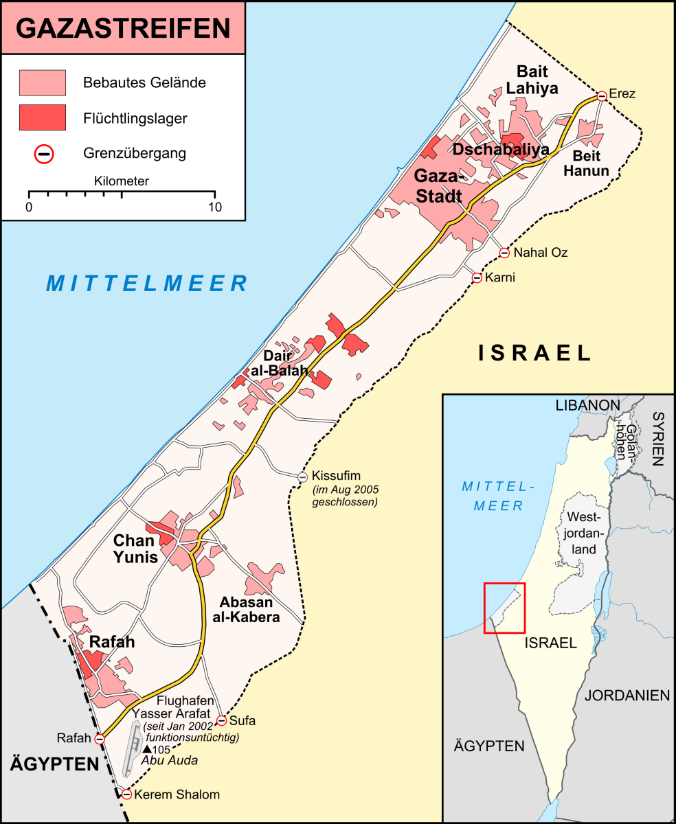 Nahost Karte.Gazastreifen Wikipedia