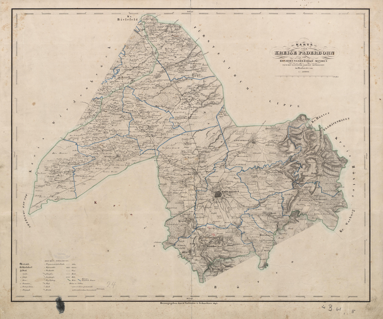 Karte Paderborn.File Karte Kreis Paderborn 1843 Jpg Wikimedia Commons