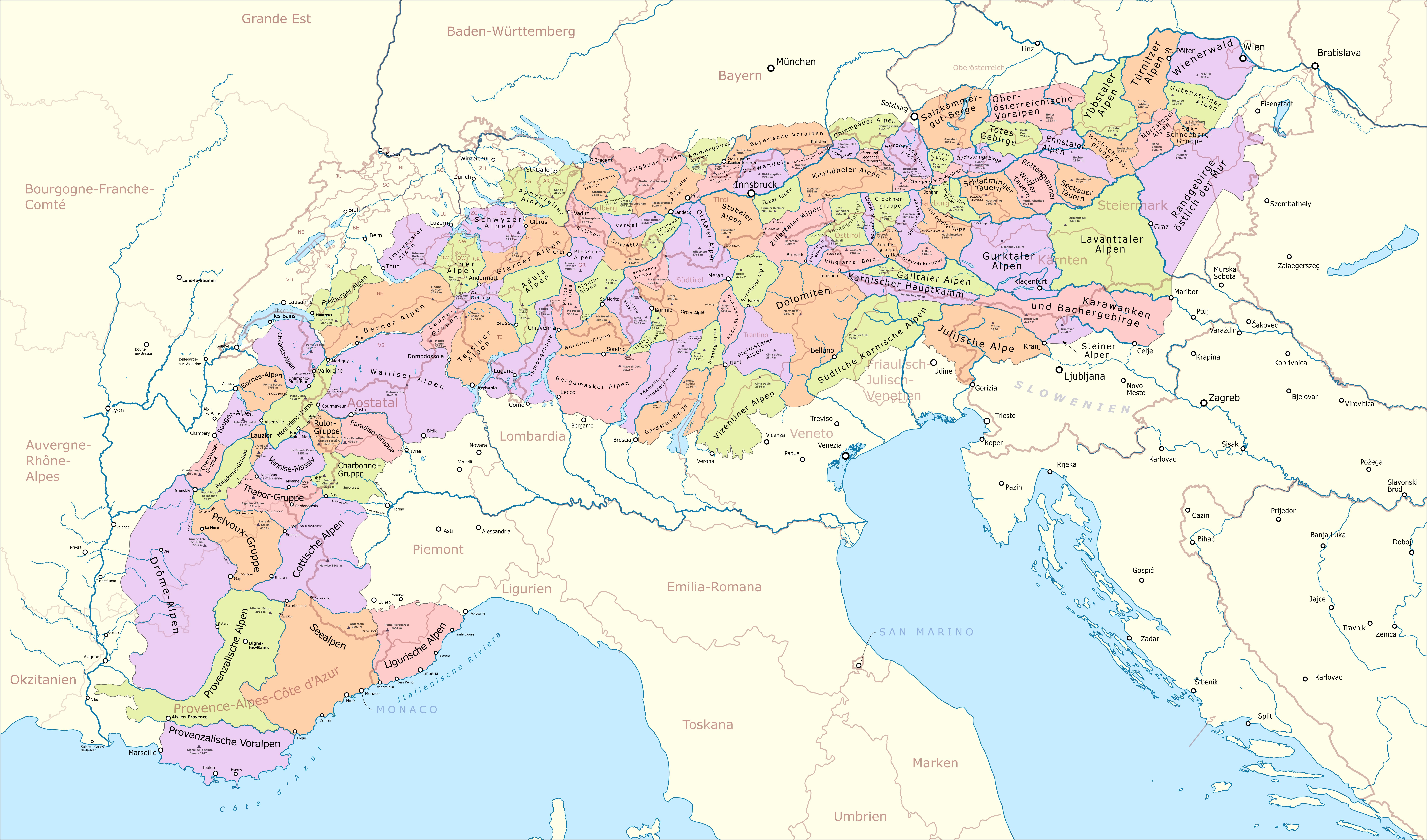 karte alpen File:Karte der Gebirgsgruppen in den Alpen.png   Wikimedia Commons