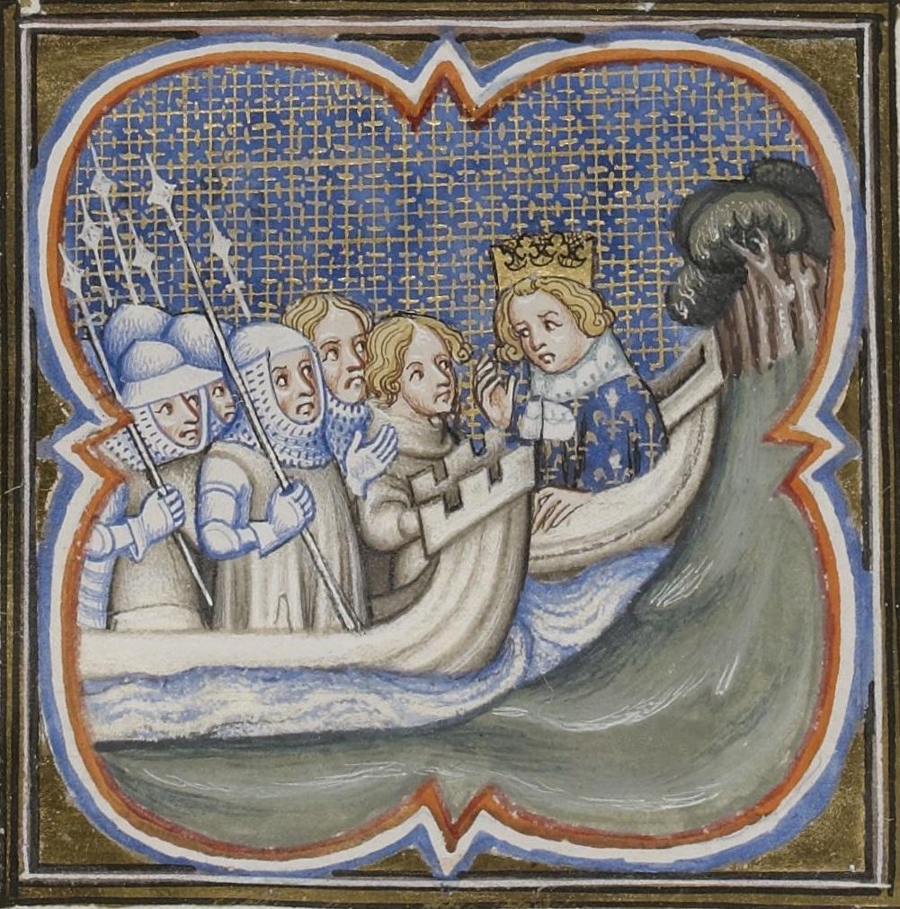 Miniature représentant Louis IX à bord d'un navire, s'entretenant avec des soldats.