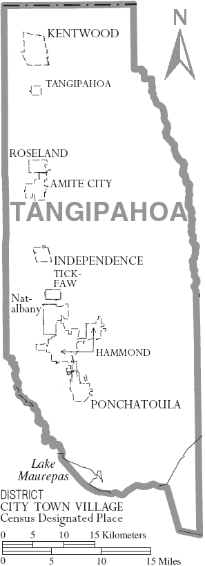 Map of Tangipahoa Parish, Louisiana, United St...