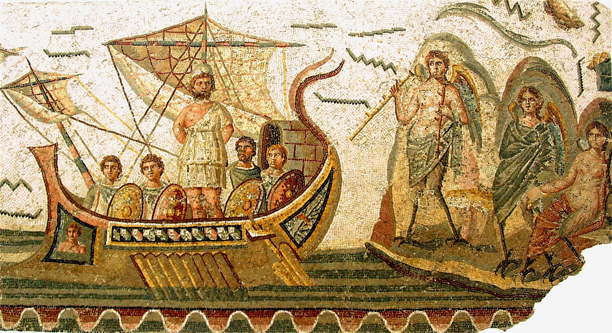 Ulisses e as sereias mosaico no museu nacional do bardo t nis tunisia s culo ii dc via wikicommons