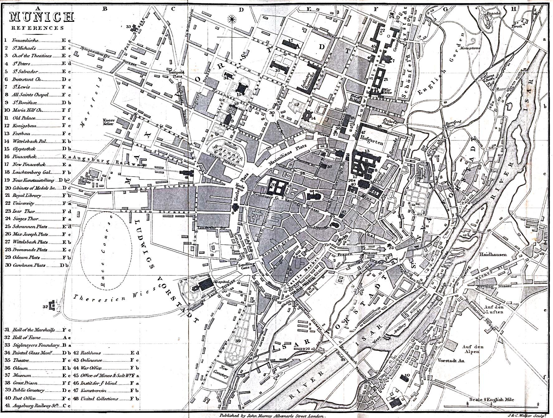 Stadtplan Münchens, 1858