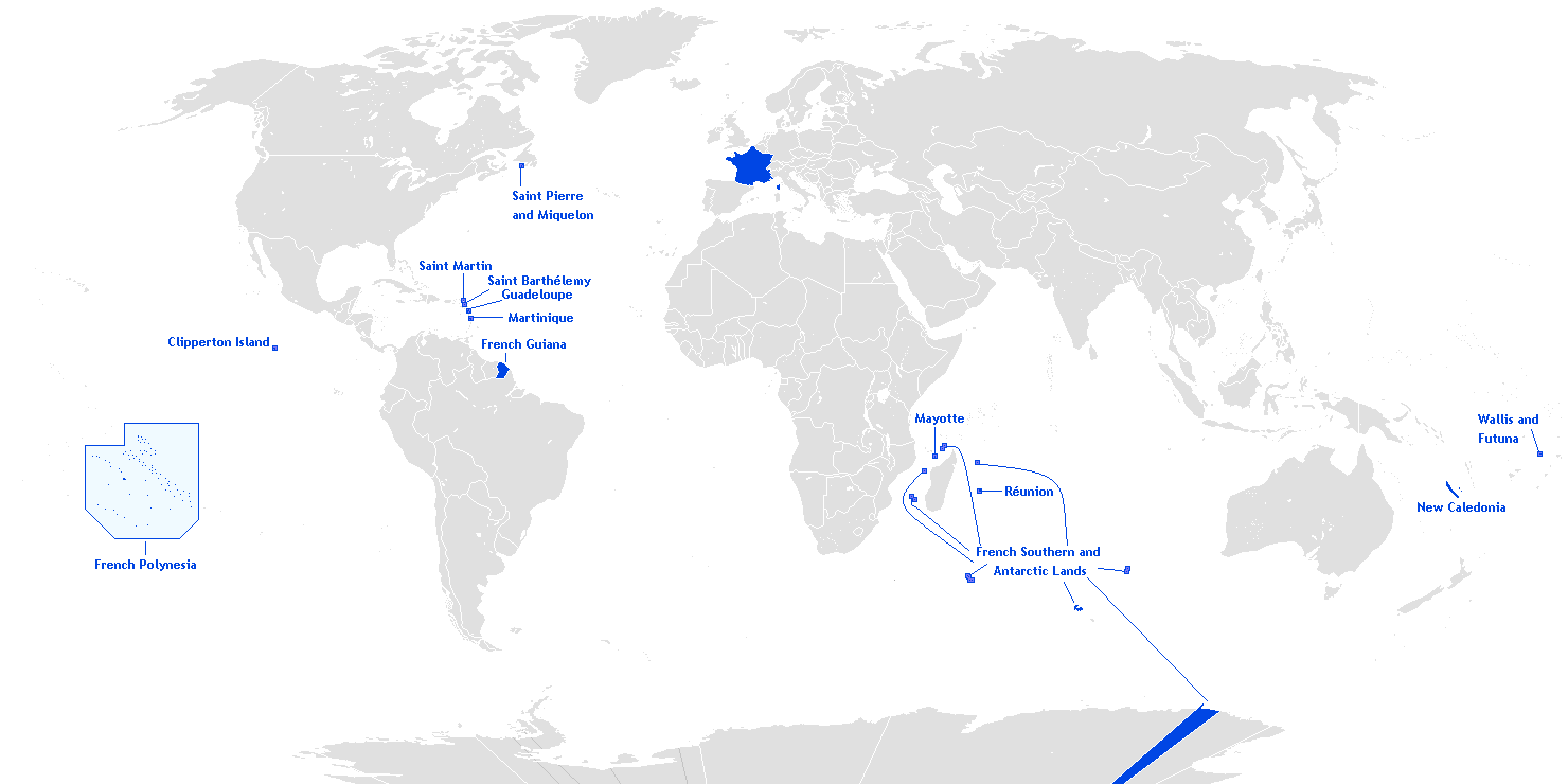 Location of French Overseas Territories