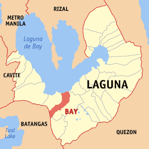 Map of Laguna showing the location of Bay