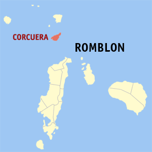 Map of Romblon showing the location of Corcuera