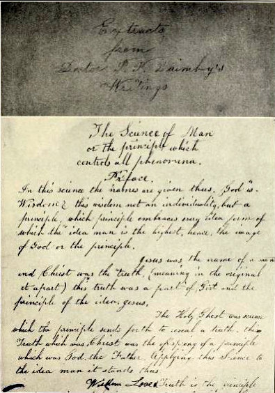 Manuscript that Eddy used when teaching Sally Wentworth, 1868-1870 Phineas Parkhurst Quimby-Mary Baker Eddy preface.jpg