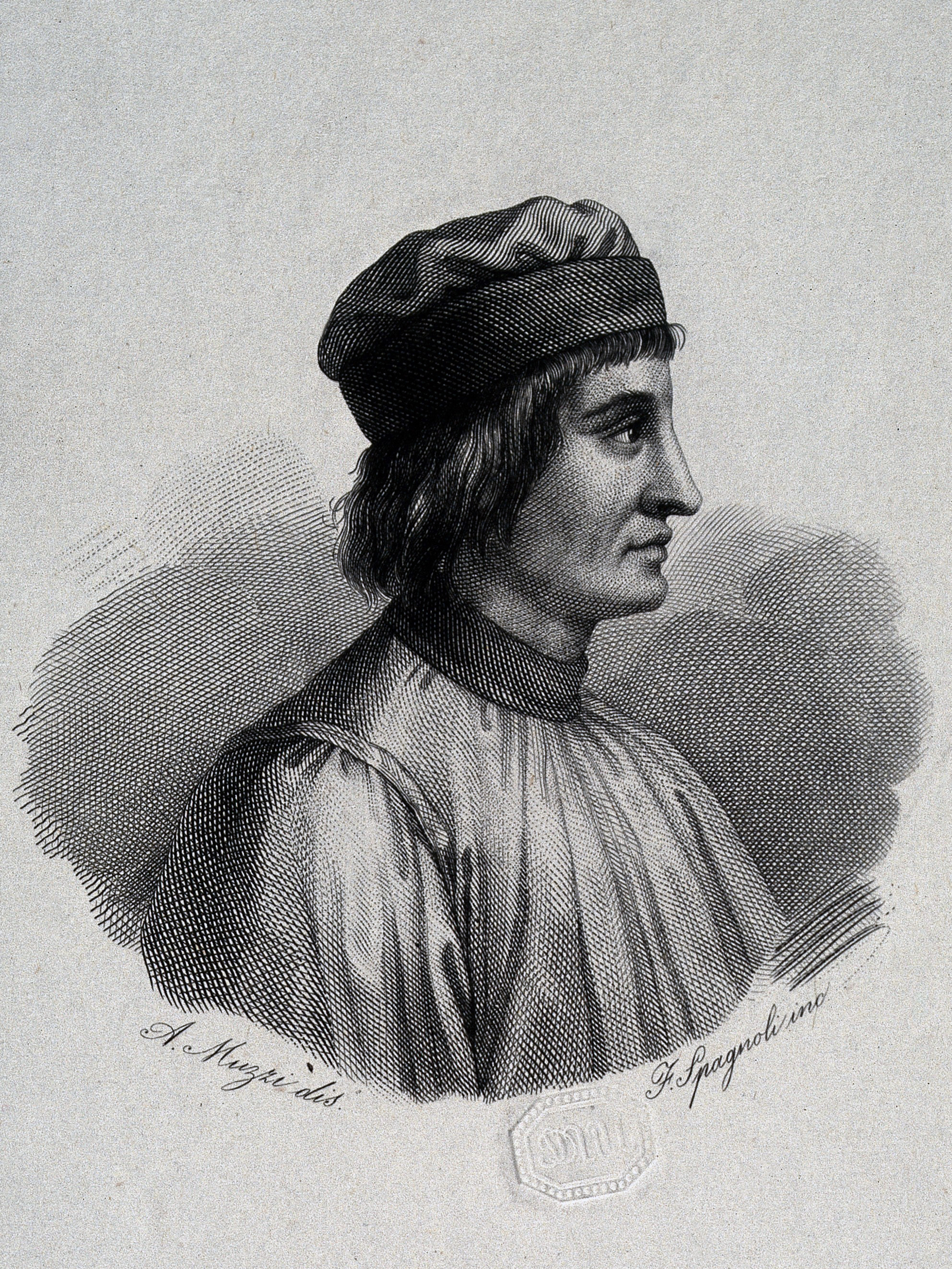 Nineteenth-century engraved portrait of de' Crescenzi after [[Antonio Muzzi]]