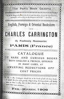 Coverpage of a catalogue of books published by Charles Carrington (Paris, 1906)